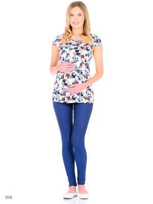Блузка для беременных и кормления 40 недель. Цвет: голубой, белый, красный