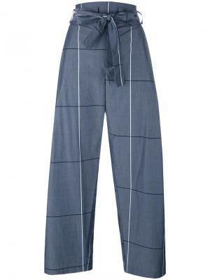Укороченные широкие брюки в клетку Erika Cavallini. Цвет: серый