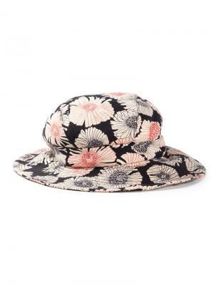 Шляпа с цветочным принтом Biba Vintage. Цвет: чёрный