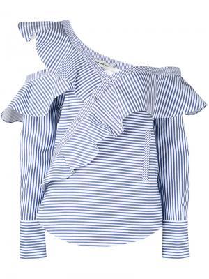 Полосатая блузка с воланами Self-Portrait. Цвет: белый