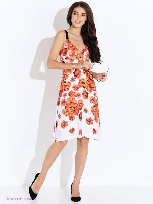 Платье Oodji. Цвет: оранжевый, белый
