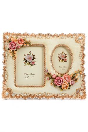 Фоторамка для 2 фото Русские подарки. Цвет: коричневый, белый, розовый