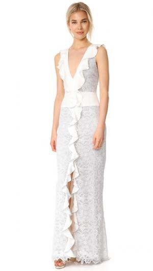 Вечернее платье без рукавов с оборками и V-образным вырезом Monique Lhuillier. Цвет: белый шелк