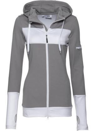 Спортивная куртка с длинным рукавом (серый) bonprix. Цвет: серый