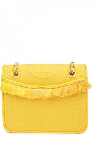Текстильная сумка Fleming medium с отделкой из кожи Tory Burch. Цвет: желтый