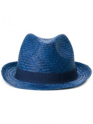 Соломенная шляпа Hackett. Цвет: синий
