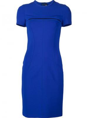 Платье с сетчатой вставкой Yigal Azrouel. Цвет: синий