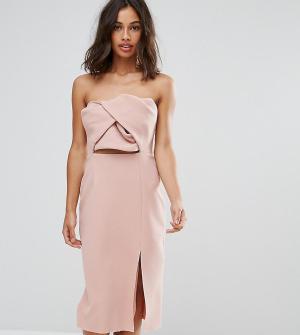 True Decadence Petite Платье-бандо миди с большим бантом. Цвет: розовый