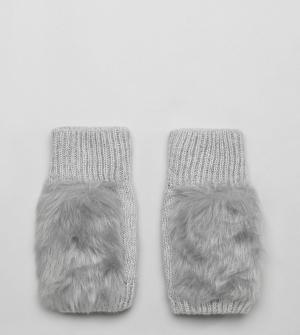 My Accessories Серые перчатки с отделкой из искусственного меха. Цвет: серый