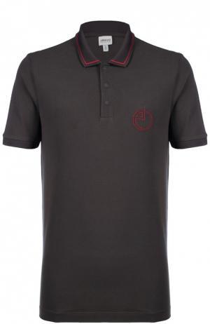 Хлопковое поло с логотипом бренда Armani Collezioni. Цвет: коричневый