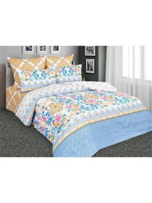 Постельное белье Великолепный 1,5 спальный Amore Mio. Цвет: голубой, желтый