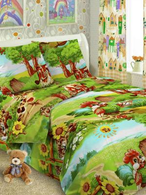 Детский комплект постельного Луг, 1,5-спальный, наволочка 50*70, хлопок Letto. Цвет: зеленый, красный, желтый