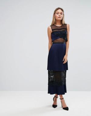 Three Floor Двухъярусное платье миди с кружевными вставками. Цвет: темно-синий