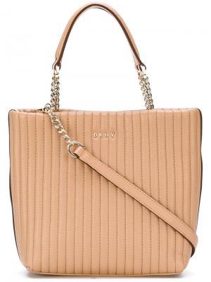 Маленькая сумка-шоппер Donna Karan. Цвет: телесный