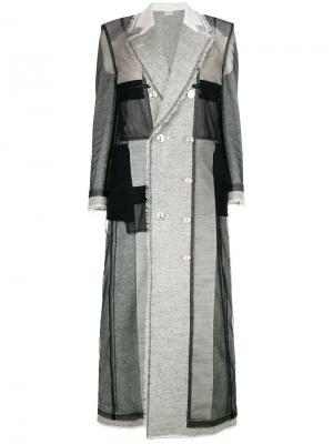 Длинное пальто в стиле пэчворк Thom Browne. Цвет: серый