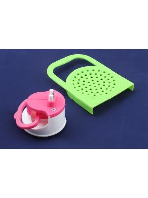 Точилка на присоске и крышка для слива с ручкой Радужки. Цвет: зеленый, розовый