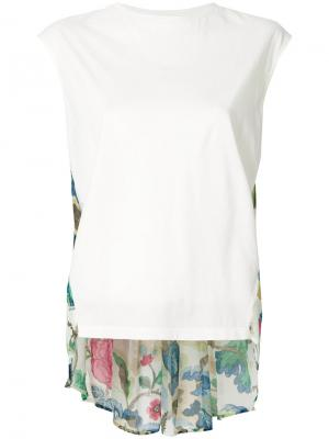 Rear floral pattern sleeveless top Semicouture. Цвет: белый