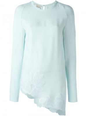 Блузка асимметричного кроя Antonio Berardi. Цвет: синий