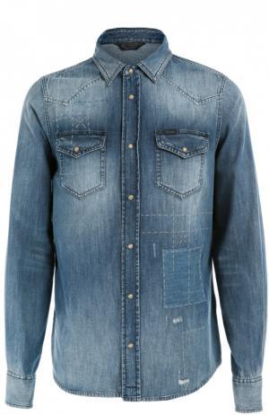 Джинсовая рубашка с вышивкой Diesel. Цвет: синий