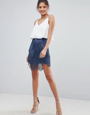 ASOS Мини-юбка с бахромой. Цвет: серый