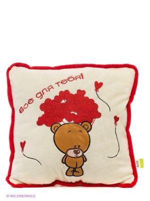 Подушка Все для тебя!, 30х30см Lapa House. Цвет: бежевый, красный, коричневый
