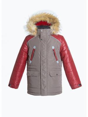 Куртка для мальчика AVESE. Цвет: светло-коричневый, бордовый
