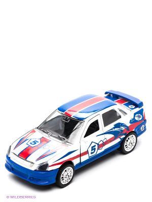 Машина Технопарк лада-приора гоночная. Цвет: белый, голубой, красный