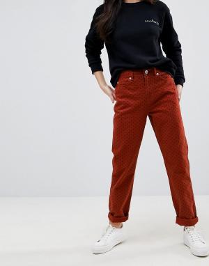 ASOS Джинсы в винтажном стиле с принтом горошек ORIGINAL. Цвет: красный