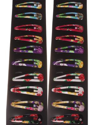 Заколки для волос клип-клап средние, в фиолетово-синий цветочек, набор 20 штук Радужки. Цвет: синий, фиолетовый