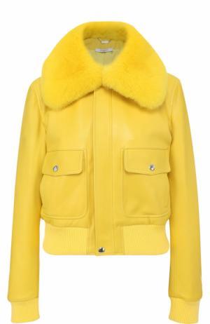 Кожаная куртка на молнии с воротником из меха лисы Givenchy. Цвет: желтый