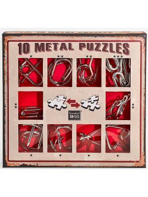 Набор из 10 металлических головоломок (красный) Eureka! 3D Puzzle. Цвет: серебристый
