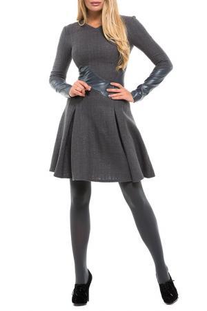Уникальное платье с длинным рукавом Gloss. Цвет: серый