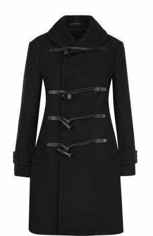Шерстяное пальто-дафлкот Yohji Yamamoto. Цвет: черный
