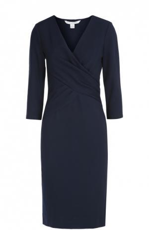 Платье Leora с драпировкой и рукавами 3/4 Diane Von Furstenberg. Цвет: темно-синий