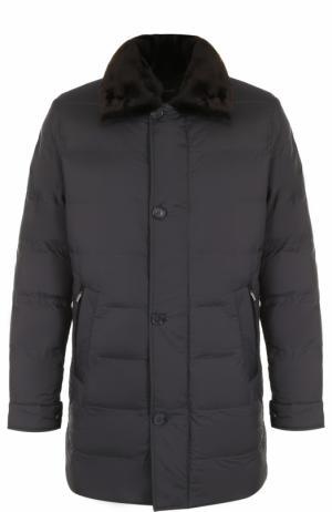 Стеганая куртка на молнии с меховой отделкой воротника Cortigiani. Цвет: серый