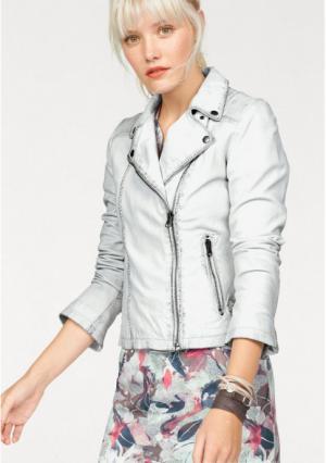 Кожаная куртка Kangaroos. Цвет: белый/синий