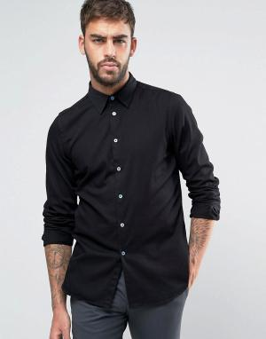 PS by Paul Smith Черная джинсовая рубашка узкого кроя в строгом стиле. Цвет: черный