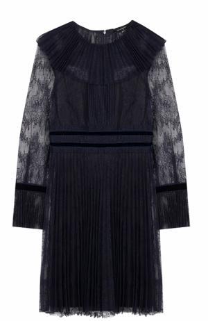 Приталенное кружевное платье-миди Tara Jarmon. Цвет: темно-синий