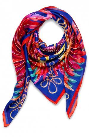 Платок Imperial Feathers из смеси кашемира и шелка Lalique. Цвет: синий