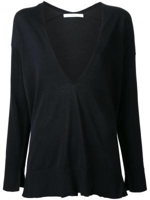 Блузка с глубоким V-образным вырезом Astraet. Цвет: чёрный