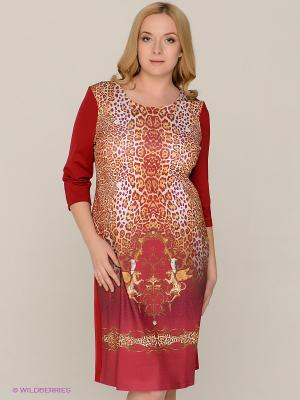 Платье MAFUERTA. Цвет: темно-красный, желтый, белый