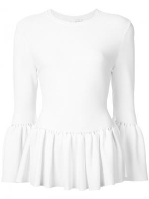 Плиссированная блуза Jonathan Simkhai. Цвет: белый