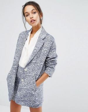 Suncoo Пальто с принтом. Цвет: синий