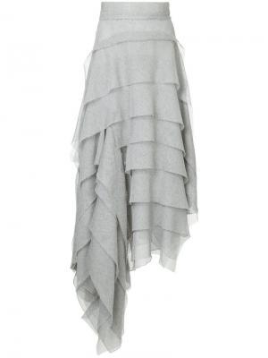 Юбка асимметричного кроя с оборками Maticevski. Цвет: серый