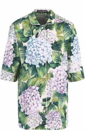 Шелковая блуза в пижамном стиле с цветочным принтом Dolce & Gabbana. Цвет: зеленый