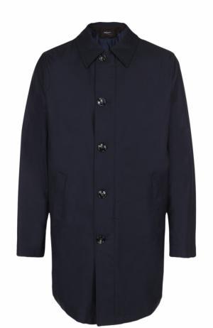 Шерстяное пальто на молнии прямого силуэта Kiton. Цвет: темно-синий