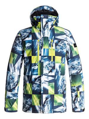 Куртка Quiksilver. Цвет: белый, морская волна, светло-зеленый