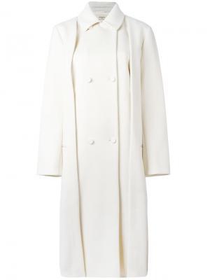 Двубортное пальто Ports 1961. Цвет: белый