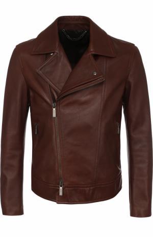 Кожаная куртка с косой молнией Brioni. Цвет: коричневый