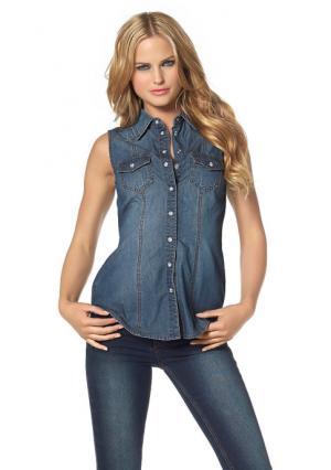 Джинсовая рубашка Arizona. Цвет: варенка, выбеленный потертый, синий потертый